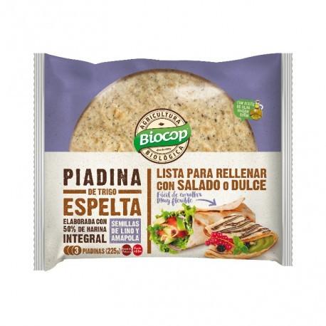 Piadina Trigo Espelta, Lino y Amapola 225 Gr (Biocop)