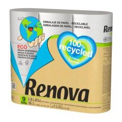 Papel Higiénico 100% Recycled 9 Rollos XXL (Renova)
