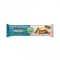 Galletas Deliciosas con Copos de Avena y Trigo, Rellenas de Chocolate Negro 150 Gr (Biocop)