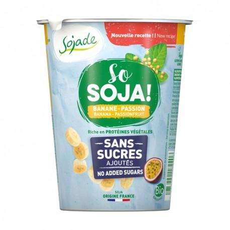 Yogur de Soja con Plátano y Maracuya Sin Azúcar 400 Gr (Sojade)