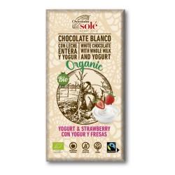 Chocolate Blanco con Yogur y Fresas 100 Gr (Solé)
