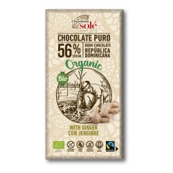 Chocolate Negro con Jengibre 56 % Cacao 100 Gr (Solé)