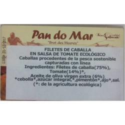 Filetes de Caballa en Salsa de Tomate Ecológico 120 Gr. (Pan do Mar)